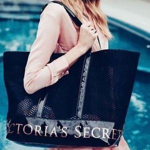 NEW Victoria's Secret Weekender Black Mesh Bag